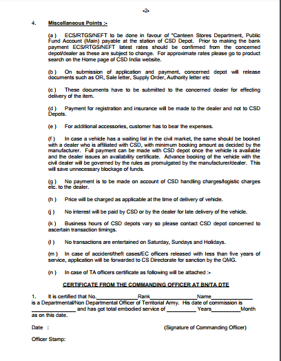 Canteen Stores Department Csd New Indent Form For